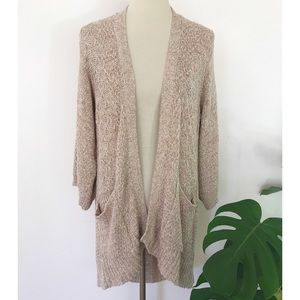 Sparrow Woven Marled Tan Open Long Knit Cardigan M